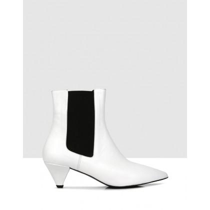 Victoria Ankle Boots White by Sempre Di