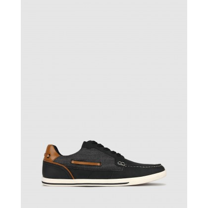 Visage Lifestyle Boat Shoes Black by Betts