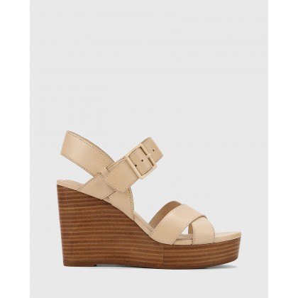 Vivia Leather Crossed Strap Open Toe Wedges Beige by Wittner