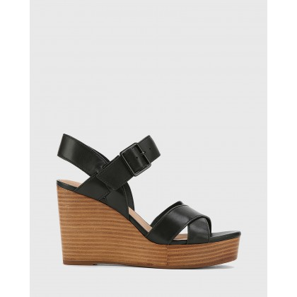 Vivia Leather Crossed Strap Open Toe Wedges Black by Wittner