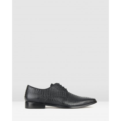 Volt Leather Derby Dress Shoes Black Croc by Zu