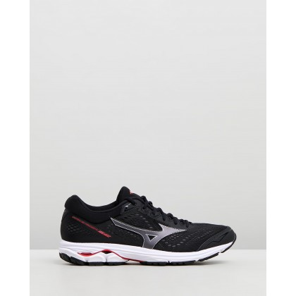 Wave Rider 22 - Men's Black & Flame Scarlet by Mizuno