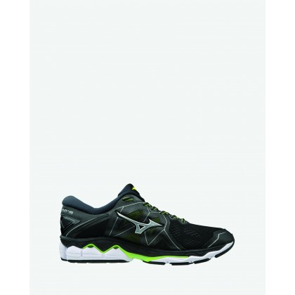 Wave Sky 2 2E Wide Width - Men's Black / Safety Yellow by Mizuno