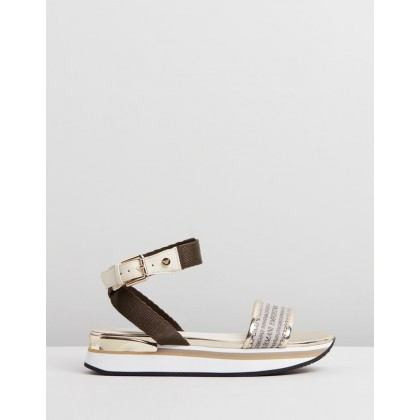 Wedge Heel Sandals Gold by Emporio Armani