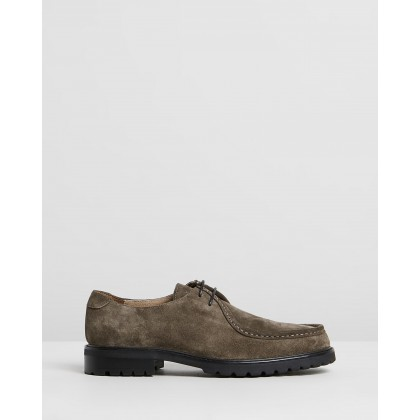Werth Suede Derby Shoes Khaki by Double Oak Mills