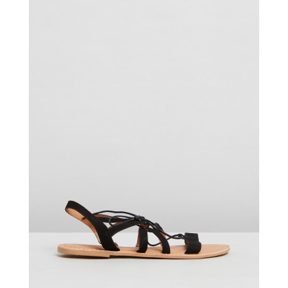 Wide Fit Joy Lace-Up Sandals Black by Dorothy Perkins