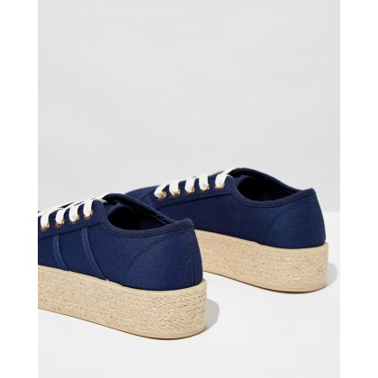 Willow Platform Espadrille Sneakers Navy Twill by Rubi