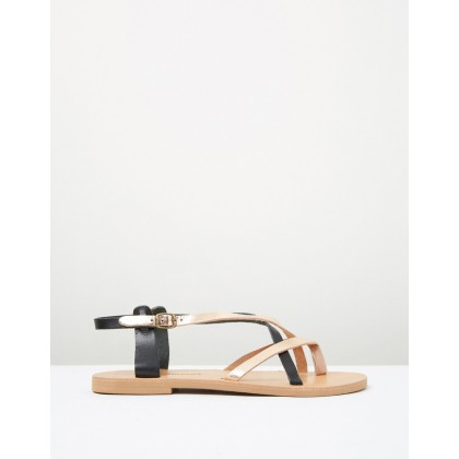 Xanthe Sandals Rose Gold/Black by Ammos