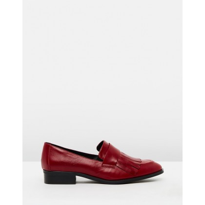 Xavier Loafers Red Leather by Jo Mercer