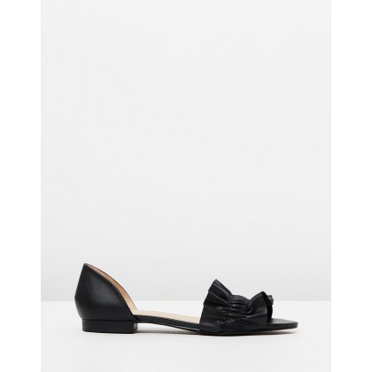 Yumiko Flats Black Leather by Jo Mercer