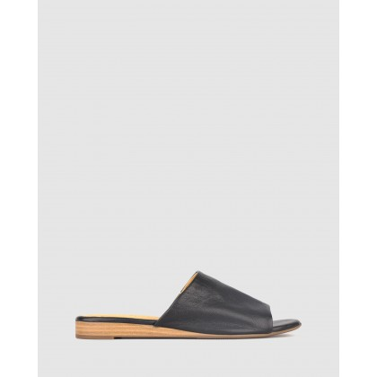 Yummy Leather Wedge Slides Black by Airflex