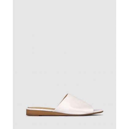 Yummy Leather Wedge Slides White by Airflex