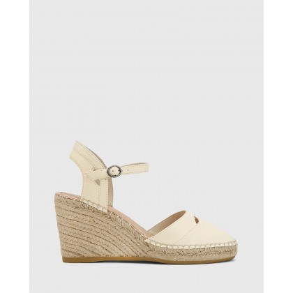 Zabel Leather Espadrille Wedges Cream by Wittner