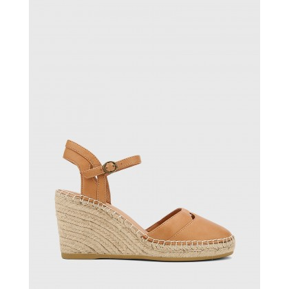 Zabel Leather Espadrille Wedges Brown by Wittner