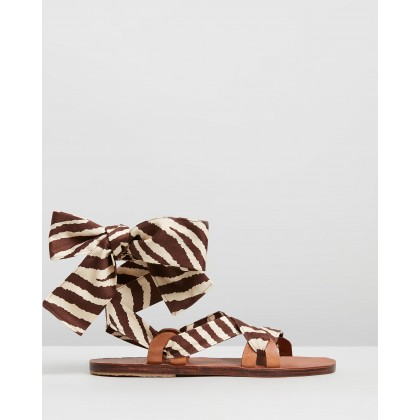 Zanzibar Sandals Zebra Brown by Brother Vellies