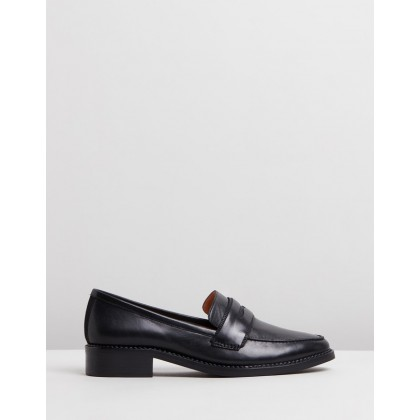 Zoey Loafers Black Leather by Jo Mercer