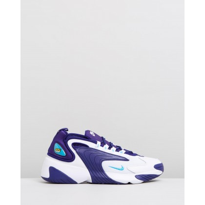 Zoom 2K - Men's White, Light Blue Fury & Regency Purple by Nike