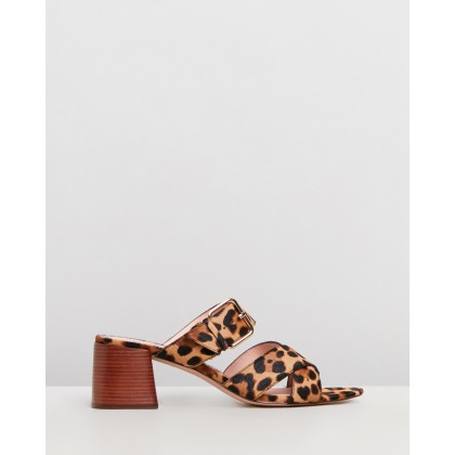 Penny Mid Heel Slide Sandals Rich Mahogany by J.Crew