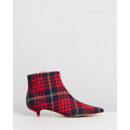 Rise Plaid Kitten Heel Boots Rose by Jaggar The Label