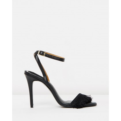 Fringe Leather Stilettos Black by Jaggar