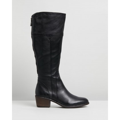 Yang Wide Casual Knee Boots Black Leather by Jo Mercer