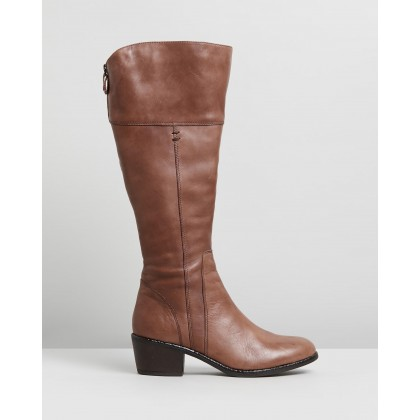 Yang Wide Casual Knee Boots Cognac Leather by Jo Mercer