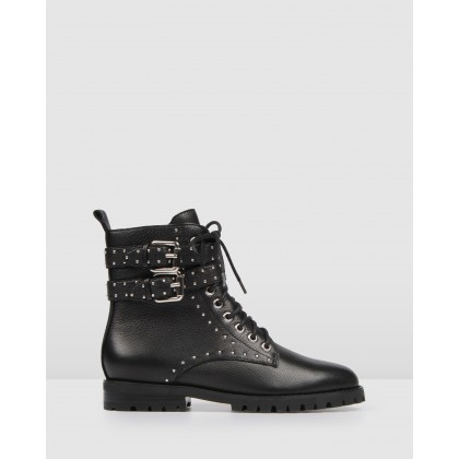 Moto Ankle Boots Black Leather by Jo Mercer