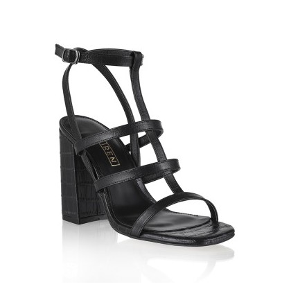 Kristy - Black Croc Emboss by Siren Shoes