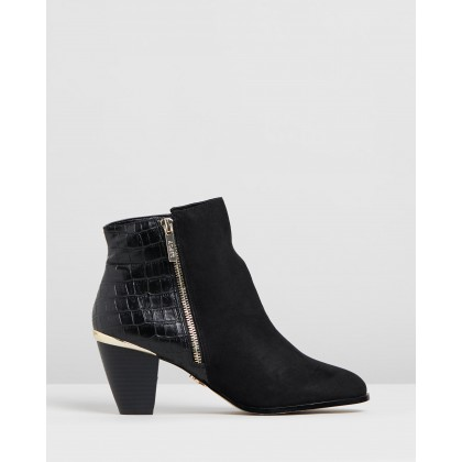 Croc Back Cuban Ankle Boots Croc by Lipsy