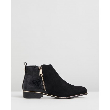 Faux Reptile Flat Ankle Boots Black by Lipsy