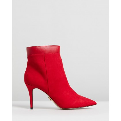 Pointed Ankle Boots Red by Lipsy