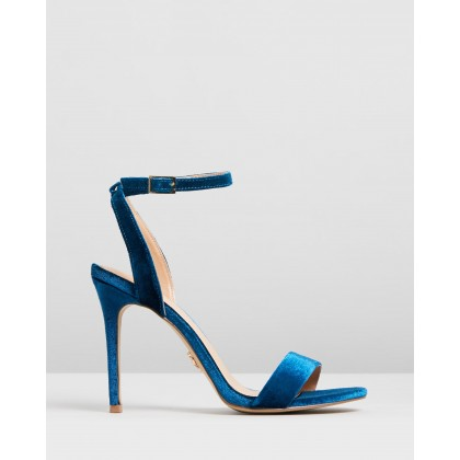 Velvet Barely There Sandals Blue by Lipsy