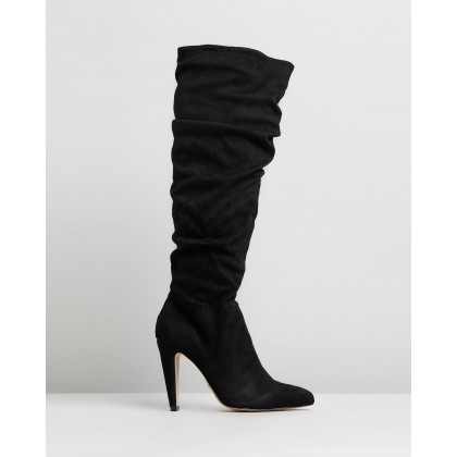 Ruched Knee High Boots Black by Lipsy