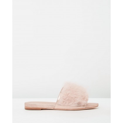 Domino Pale Pink Shearling & Rose Gold Metallic Goat by D.O.F