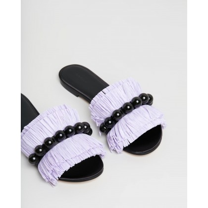Annika Raffia Slides Violet by Mara & Mine