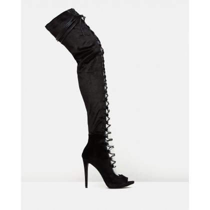 Lace-Up Peep-Toe Thigh-Highs Black by Missguided