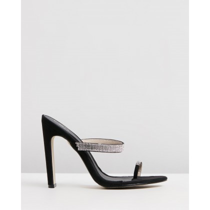 Diamante Toe Post Heels Black by Missguided