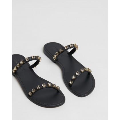 Two-Strap Jewel Slides Black by Mystique