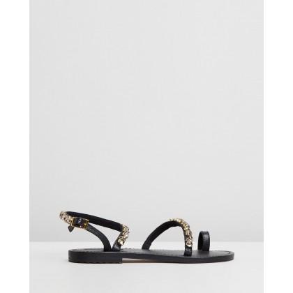 Jewel Ankle-Strap Sandals Black Diamond by Mystique