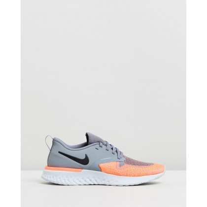 Odyssey React Flyknit 2 - Women's Cool Grey, Black & Bright Mango by Nike