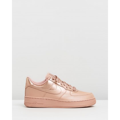 Air Force 1 '07 LX Shoes - Women's Rose Gold & Metallic Red Bronze by Nike