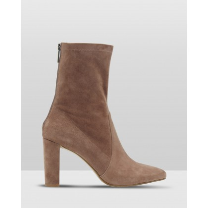 Imogen Suede Sock Boots Brown by Oxford