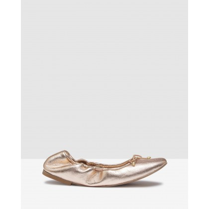 Maddy Metallic Ballet Shoes Rose Gold by Oxford
