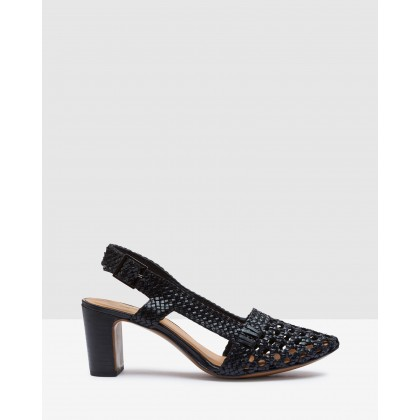 Mabel Leather Woven Shoes Black by Oxford