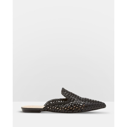 Harlow Leather Woven Flats Black by Senso