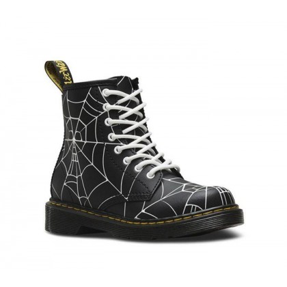 Junior 1460 Skull Web Black & Shiny White