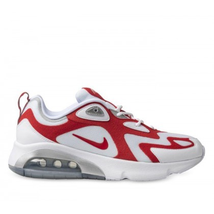 Mens Air Max 200 White/University Red-Metallic Silver