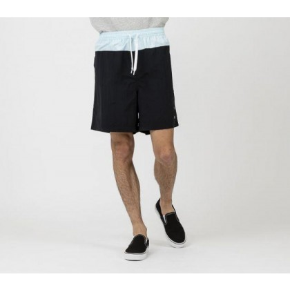 Mens Athletic Panelled Shorts Blk + Sea Brz