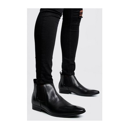 Leather Look Chelsea Boots in Black