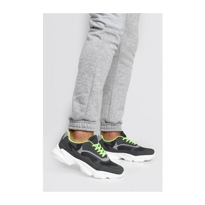 Neon Lined Chunky Trainer in Grey